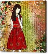 Christmas Eve Mixed Media Folk Artwork Of Young Girl Acrylic Print