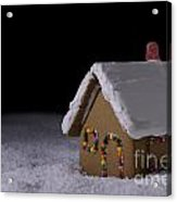 Christmas Gingerbread Cottage At Night Acrylic Print