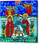 Christmas Icon Religious Naive Folk Art Nativity Acrylic Print
