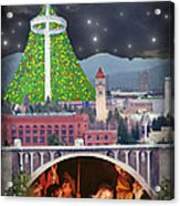 Christmas In Spokane Acrylic Print by Mark Armstrong