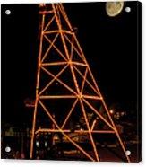 Christmas Moon Over Butte Headframe Acrylic Print