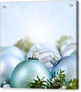 Christmas Ornaments On Blue Acrylic Print