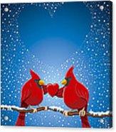 Christmas Red Cardinal Twig Snowing Heart Acrylic Print by Frank Ramspott