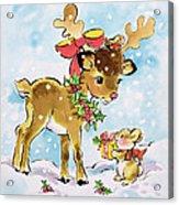 Christmas Reindeer And Rabbit Acrylic Print