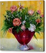 Christmas Roses In Cranberry Glass   Copyrighted Acrylic Print