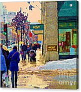 Christmas Shoppers Ogilvys Enchanted Village Window Display A Montreal Xmas Tradition Carole Spandau Acrylic Print