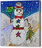 Christmas Snowman With Gifts Of Love Acrylic Print