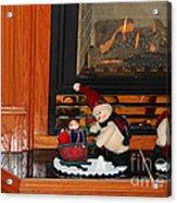 Christmas - Snowmen Collection- Fireplace Acrylic Print