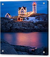 Christmas Time At Nubble Light. Acrylic Print by Jeff Sinon