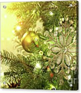 Christmas Tree Decorations With Sparkle Background Acrylic Print