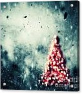 Christmas Tree Glowing On Winter Vintage Background Acrylic Print