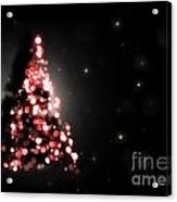 Christmas Tree Shining On Black Background Acrylic Print