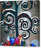 Christmas Tree Swirls And Curls Acrylic Print