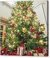 Christmas Tree  With Presents Tall Perspective Acrylic Print