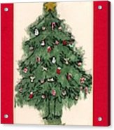 Christmas Tree With Red Mat Acrylic Print by Mary Helmreich