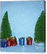 Christmas Trees With Red And Blue Presents Acrylic Print