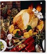 Christmas Turkey Dinner With Wine Acrylic Print by The Irish Image Collection