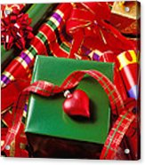 Christmas Wrap With Heart Ornament Acrylic Print