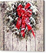 Christmas Wreath On Barn Door Acrylic Print
