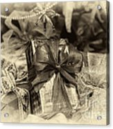 Christmasgift Under The Tree In Sepia Acrylic Print