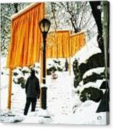 Christo - The Gates - Project For Central Park In Snow Acrylic Print