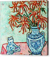 Chrysanthemum And Frog Acrylic Print