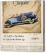 Chrysler 1928 1920s Usa Cc Cars Acrylic Print
