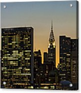 Chrysler And Un Buildings Sunset Acrylic Print