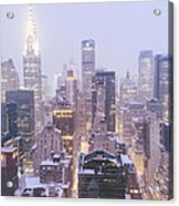 Chrysler Building And Skyscrapers Covered In Snow - New York City Acrylic Print