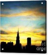Chrysler Skyline With Incredible Sunset Acrylic Print