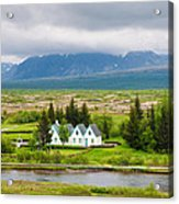 Church And Buildings National Park Pingvellir Iceland Acrylic Print
