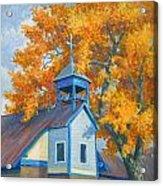 Church And Cottonwoods Acrylic Print