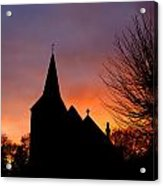 Church And Graveyard At Dusk Acrylic Print