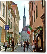 Church At End Of Street In Old Town Tallinn-estonia Acrylic Print