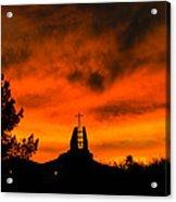 Church Cross Lit By Tucson Sunset Acrylic Print