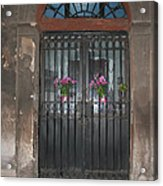 Church Doors And Flowers Acrylic Print