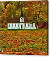 Church In A Pumpkin Patch Acrylic Print