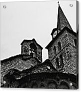 Church Of The Assumption Of Mary In Bossost - Abse And Tower Bw Acrylic Print