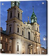 Church Of The Holy Cross At Night In Warsaw Acrylic Print
