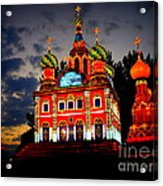 Church Of The Savior On Spilled Blood Lantern At Sunset Acrylic Print