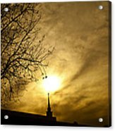 Church Steeple Clouds Parting Acrylic Print