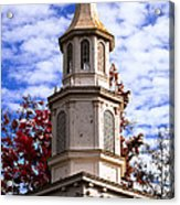 Church Steeple In Autumn Blue Sky Clouds Fine Art Prints As Gift For The Holidays Acrylic Print