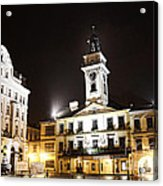 Cieszyn Town Center At Night Acrylic Print