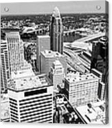 Cincinnati Aerial Skyline Black And White Picture Acrylic Print
