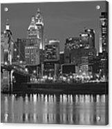 Cincinnati Black And White Night Acrylic Print