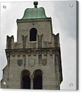 Cincinnati Church With Angel Carving And Bronze Cross Acrylic Print