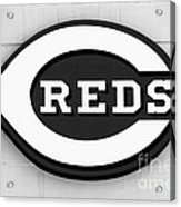 Cincinnati Reds Sign Black And White Picture Acrylic Print