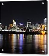 Cincinnati Skyline At Night From Covington Kentucky Acrylic Print