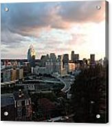 Cincinnati Skyline At Sunset Form The Top Of Mount Adams Acrylic Print