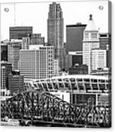 Cincinnati Skyline Black And White Picture Acrylic Print by Paul Velgos